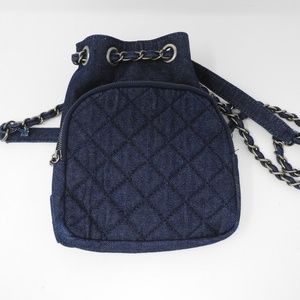 Zara Mini Quilted Denim Backpack Jean Small NWOT